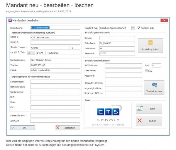 Zusätzlicher Mandant für ShipXpert Versandsoftware zur SelectLine