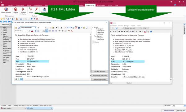 H2 HTML Editor für SelectLine