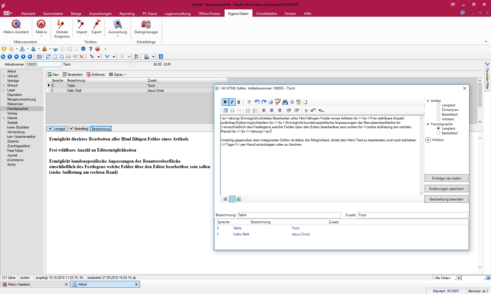 H20 HTML Editor für SelectLine